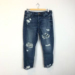 American Eagle Distressed Tomgirl Button Fly Jeans